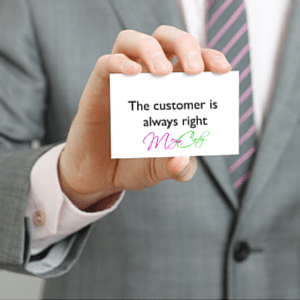 Visitekaartje met de tekst  The customer is always right